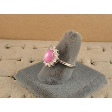 VINTAGE SIGNED LINDE LINDY AZALEA PINK STAR SAPPHIRE CREATED HALO RING RD PL S/S