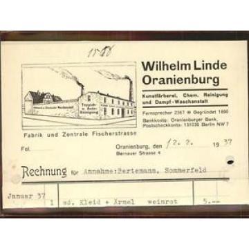 41404136 Oranienburg Fa Wilhelm Linde Rechng Oranienburg