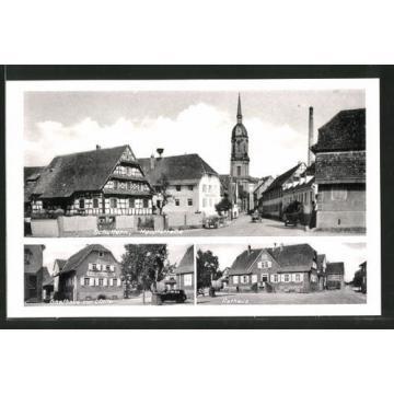 schöne AK Schuttern, Gasthaus zur Linde, Rathaus, Hauptstraße