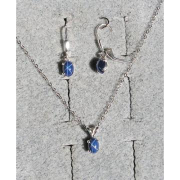 VINTAGE LINDE LINDY CF BLUE STAR SAPPHIRE CREATED SET EAR PENDANT CHAIN .925 SS