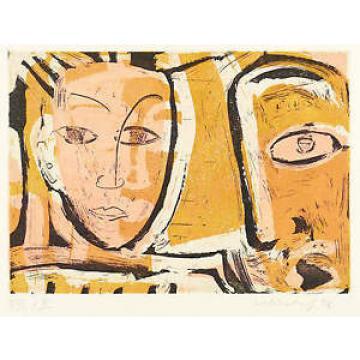 LINDE BISCHOF - OHNE TITEL (ZWEI KÖPFE) - Farbaquatinta 1996