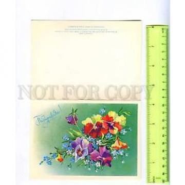 220986 RUSSIA LINDE Greetings flowers pansy folding postcard
