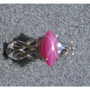 VINTAGE SIGNED LINDE PINK STAR RUBY CREATED SAPPHIRE RING RHOD PL .925 S/S