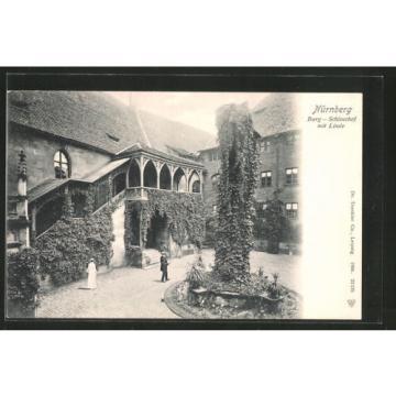 tolle AK Nürnberg, Partie im Schloßhof mit Linde