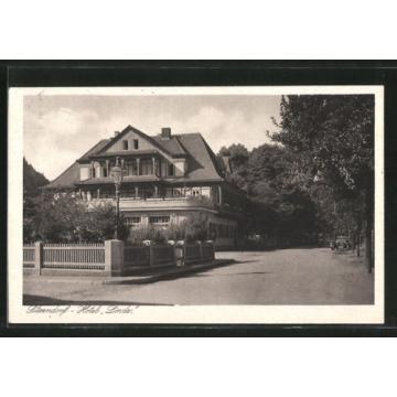 alte AK Sitzendorf, Ortsstraße mit Hotel Zur Linde 1929