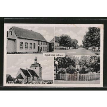 alte AK Lebien, Gasthof zur grünen Linde v. O. Carius, Ehrenmal, Kirche