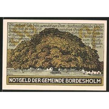 Notgeld Bordesholm 1921, 50 Pfennig, alte Linde, Wapplen