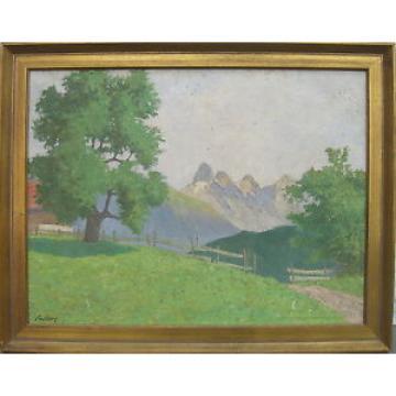 """::Georg Manfred Kauders (1882-1953) °""""Große Linde"""" Mädelegabel Oberstdorf  / LF"""