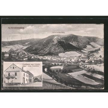 alte AK Altenbamberg, Gasthaus zur Linde, Ortsansicht aus der Vogelschau 1922