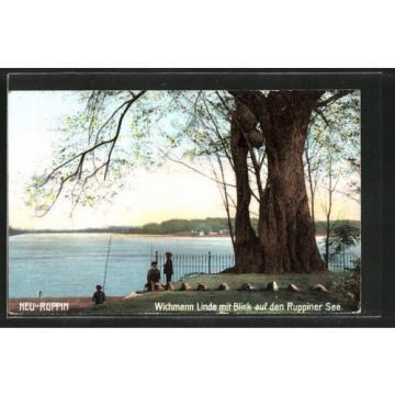 tolle AK Neuruppin, Wichmann-Linde mit Blick auf den Ruppiner See, Angler 1910