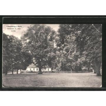 alte AK Löwenberg, Dorfplatz mit alter Linde 1944