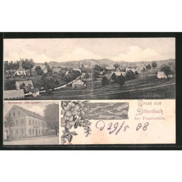 tolle AK Dittersbach, Gasthaus zur Linde, Gesamtansicht 1908