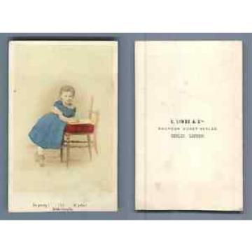 E. Linde & Co. Si jolie ! CDV vintage albumen Tirage albuminé aquarellé  6,5