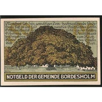 Notgeld Bordesholm 1921, 50 Pfennig, Stadtwappen, Linde