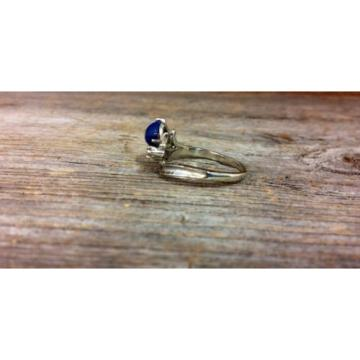 14k White Gold Linde Star Sapphire Ring with Diamonds