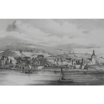 Lithographie Originale XIXème - Ville de la Linde - J. Philippe