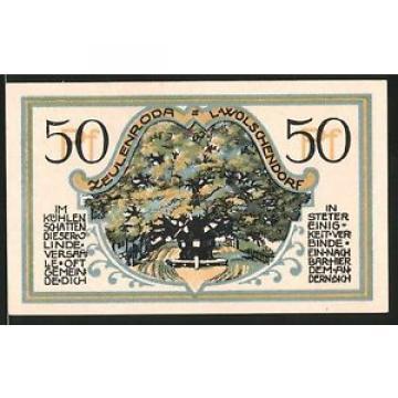 Notgeld Zeulenroda 1921, 50 Pfennig, Stadtwappen, alte Linde in Wolschendorf