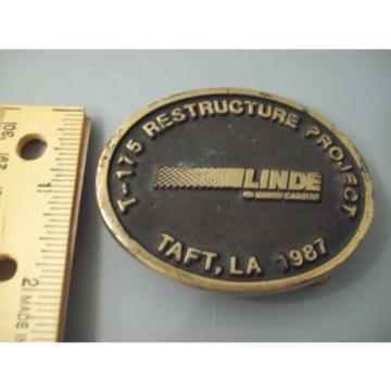 VINTAGE 1987 TAFT, LA. SOLID BRASS BELT BUCKLE- MAKE OFFER-T-175 LINDE UNION