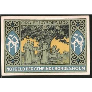 Notgeld Bordesholm 1921, 50 Pfennig, Stadtwappen, Mönche vor alter Linde 1326