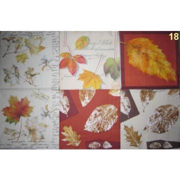 4 Servietten Herbst bunte Blätter Ahorn Kastanie Linde Buche Pappel