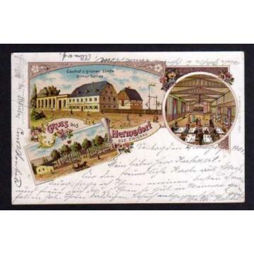 97636 AK Hermsdorf Bez. Zwickau Gasthof zur grünen Linde Litho 1901 Oberlungwitz