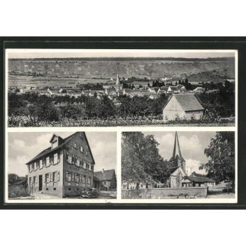 schöne AK Ellhofen, Gasthaus zur Linde, Kriegerdenkmal mit Kirche, Gesamtansich