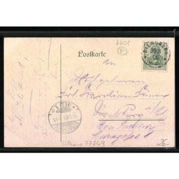 Lithographie Diersburg, Ruine Thiersberg, Gasthaus Linde, Gesamtansicht 1906