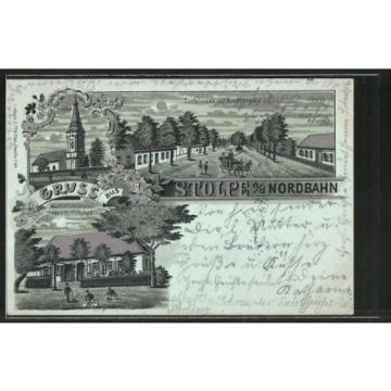 Mondschein-Lithographie Stolpe, Gasthof zur krummen Linde v. R. Borgfeld, Kirch