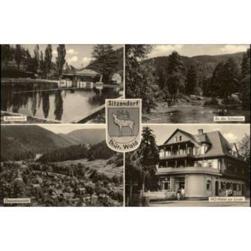 Sitzendorf Thüringer Wald DDR Mehrbildkarte 1960 Badeanstalt Hotel zur Linde u.a