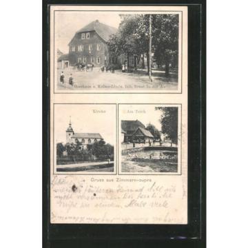 tolle AK Zimmernsupra, Gasthaus zur Kaiser-Linde, Kirche, Partie am Teich