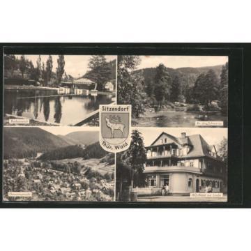 AK Sitzendorf, Badeanstalt, An der Schwarza, HO-Hotel zur Linde, Gesamtansicht,