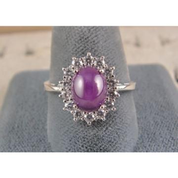 VINTAGE SIGNED LINDE LINDY PLUM PURPLE STAR SAPPHIRE CREATED HALO RING RD PL S/S