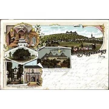 Litho Augustusburg im Erzgebirge, Schloss bei Mondschein, Linde,... - 1454512