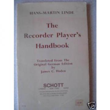 THE RECORDER PLAYER'S HANDBOOK By Hans-Martin Linde SC