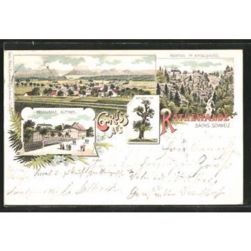 tolle Lithographie Rathewalde, Restaurant Büttner, Napoleons Linde 1898