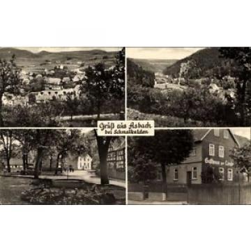 Ak Asbach Schmalkalden, Gasthaus zur Linde, Stadtpanorama, Allee - 1434959