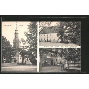 tolle AK Beckwitz, Gasthof zur Linde v. M. Opfermann, Kirche