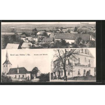 schöne AK Köhra, Restaurant zur Linde, Totalansicht, Kirche