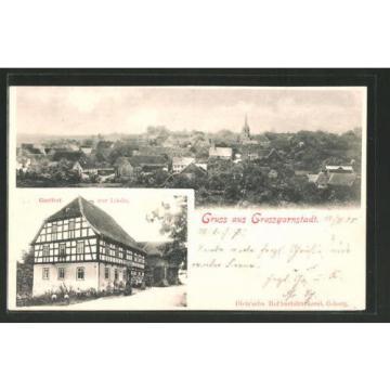tolle AK Grossgarnstadt, Gesamtansicht & Gasthof zur Linde 1905