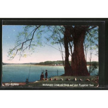 schöne AK Neuruppin, Wichmann Linde mit Blick auf den Ruppiner See 1916