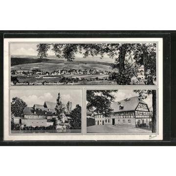 tolle AK Großolbersdorf, Gasthaus zur Linde, Ortsansicht 1942