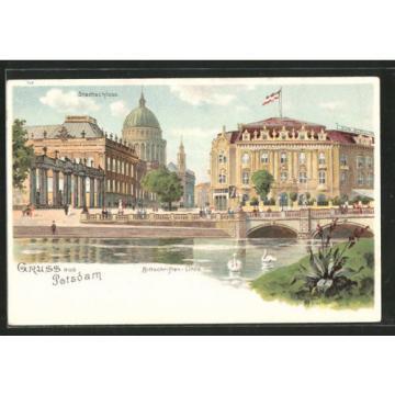 alte Lithographie Potsdam, Stadtschloss und Bittschriften-Linde