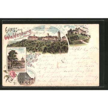 Lithographie Waldenburg, Partie an der Linde, Fürstl. Schloß, Pfarrhaus 1900