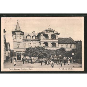 alte AK Finsterbergen, Pferdekutsche am Hotel zur Linde 1917