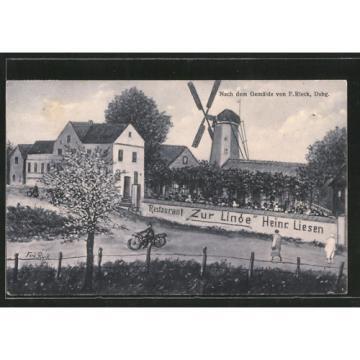 Künstler-AK Duisburg-Baerl, Gasthaus zur Linde v. H. Liesen, Windmühle, Motorra