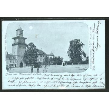 schöne Mondschein-AK Neuenstadt, Ortspartie an der Linde 1902