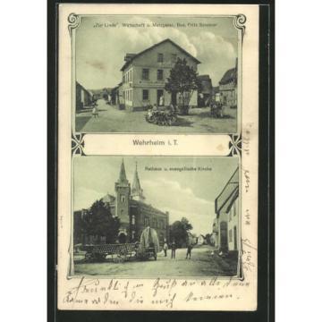 AK Wehrheim, Gasthaus u. Metzgerei zur Linde, Bes. F. Sommer, Rathaus u. ev. Ki