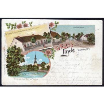Litho / Lithografie LINDE in Pommern (Stempel Wildenbruch, Swobnica)