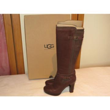 UGG® AUSTRALIA LINDE BROWN LEATHER KNEE HIGH BOOTS UK 5.5 EUR 38 USA 7 RRP £245