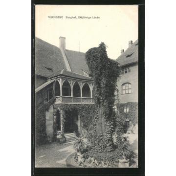 schöne AK Nürnberg, Burghof mit 500 jähriger Linde